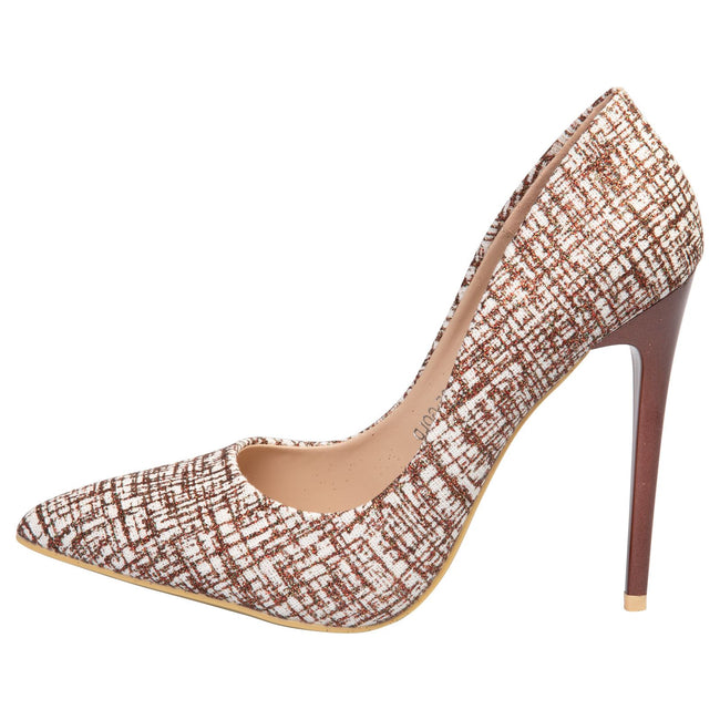 Tara Glitter Court Shoes in Rose Gold Glitter - Feet First Fashion