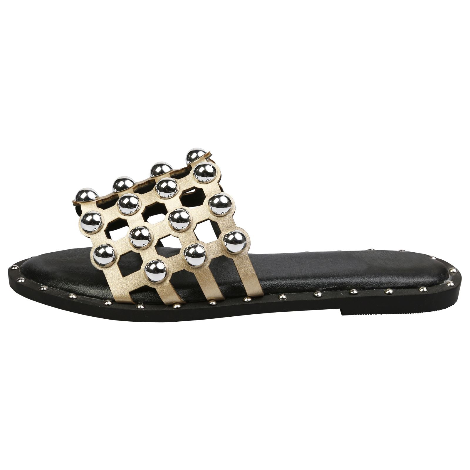 Carolyn Studded Sliders in Gold Faux Leather