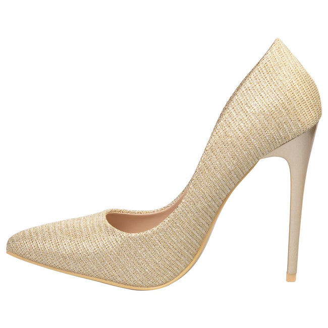 Laverne Pointed Toe Court Shoes in Gold Shimmer
