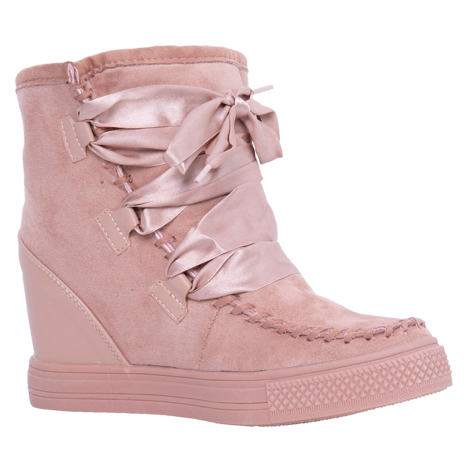 Kacee Stylish Wedge Trainers in Pink With Ribbon