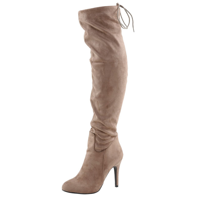 Gracia Stiletto Over the Knee Boots in Khaki Taupe Faux Suede