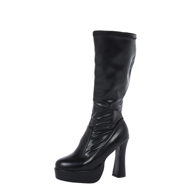 Memphis Knee High Platform GoGo Boots in Black Faux Leather