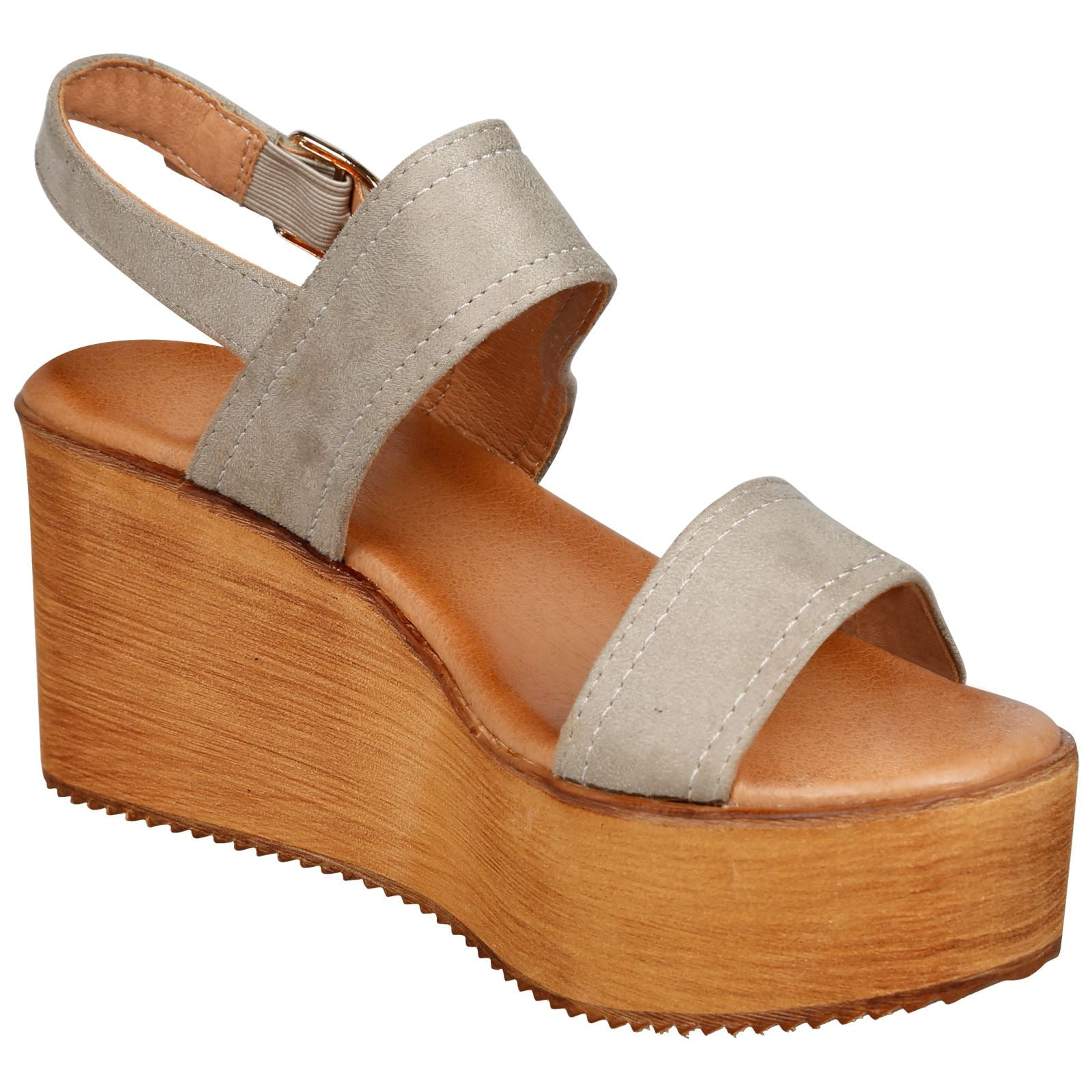 Darby Womens Platform Wedge Sandals in Grey Faux Suede