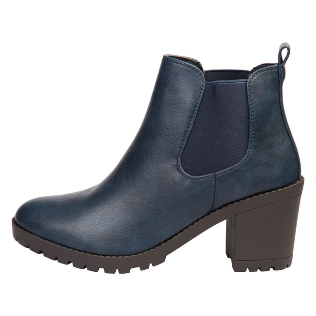 Amaya Block Heel Chelsea Boots in Navy Blue Faux Leather - Feet First Fashion