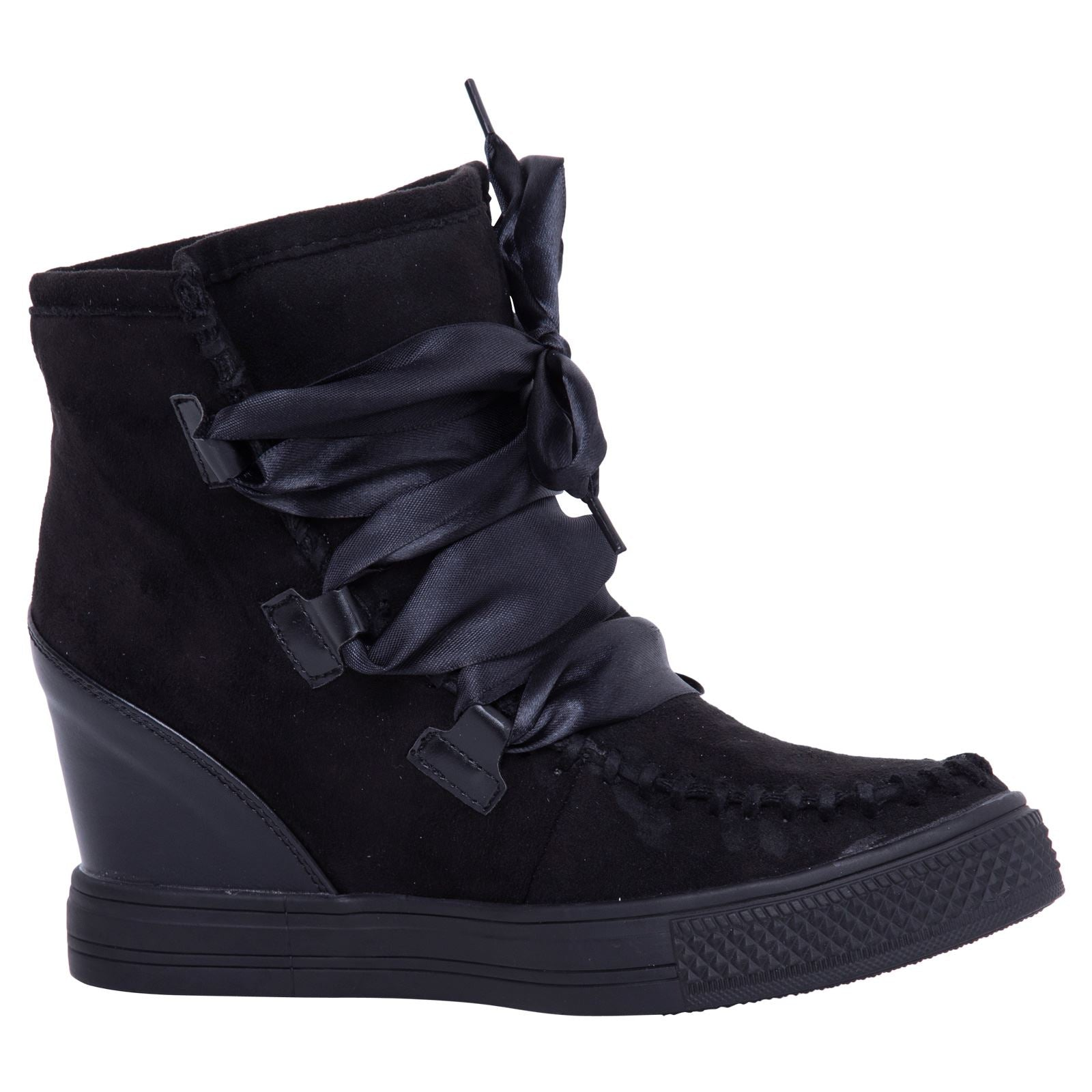 Kacee Stylish Wedge Trainers in Black With Ribbon