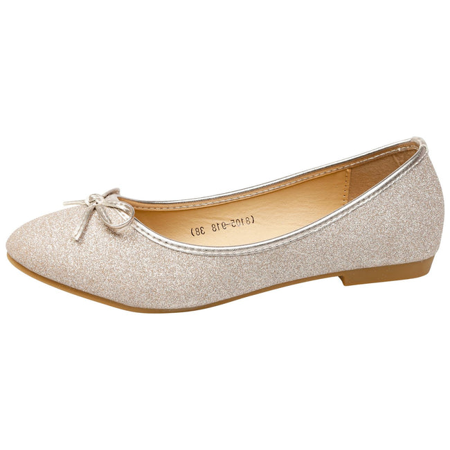 Fearne Bow Detail Ballerinas in Gold Glitter