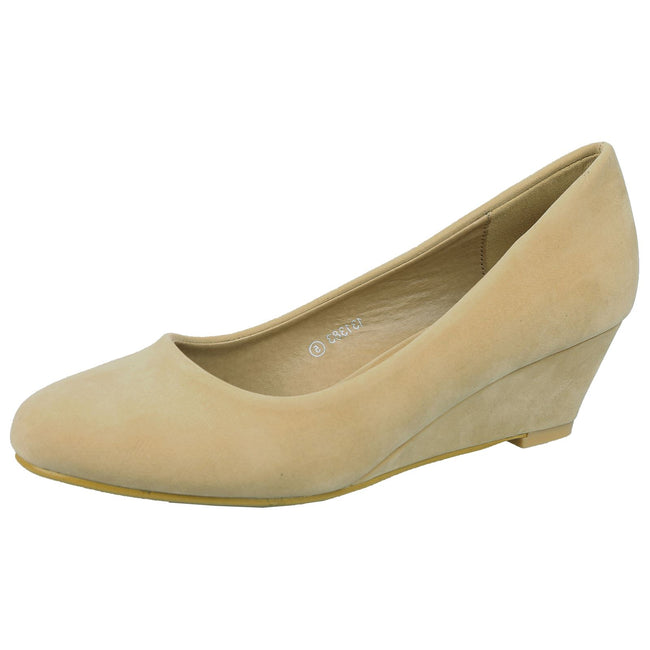 Wendy Low Wedge Court Shoes in Beige Nude Faux Suede