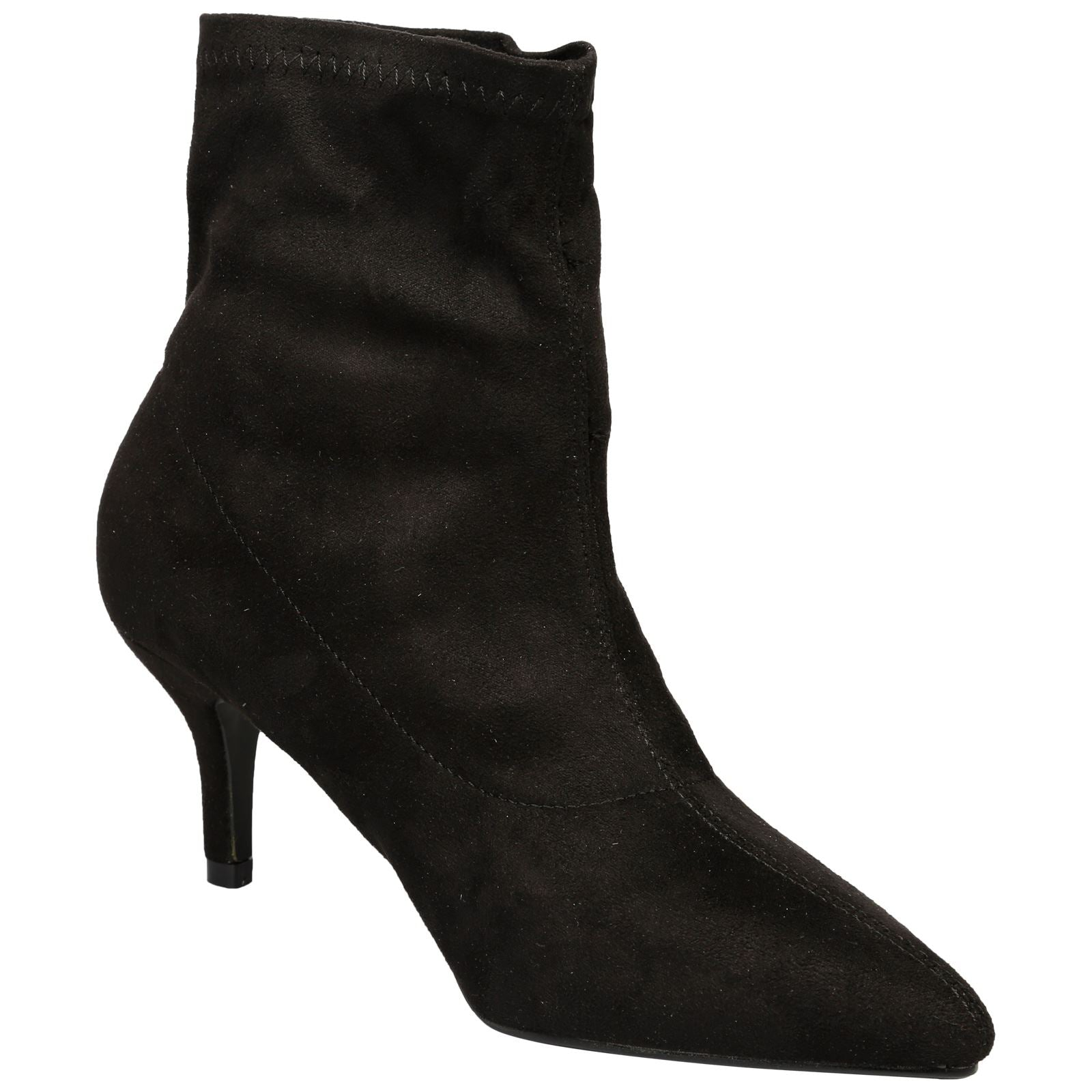 Everleigh Heeled Ankle Boots in Black Faux Suede - Feet First Fashion