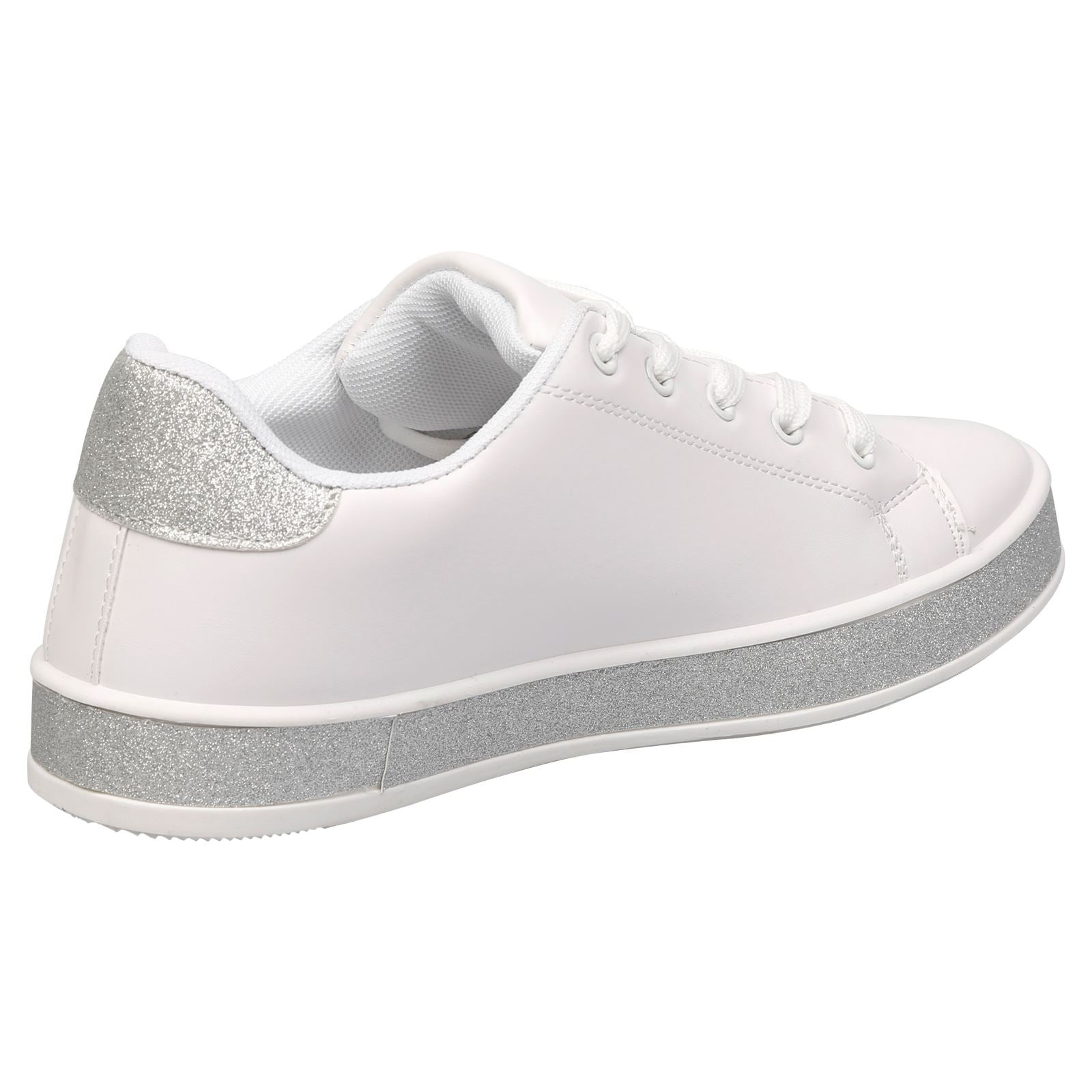 Koko Leather Look Skater Pumps in White with Silver Glitter