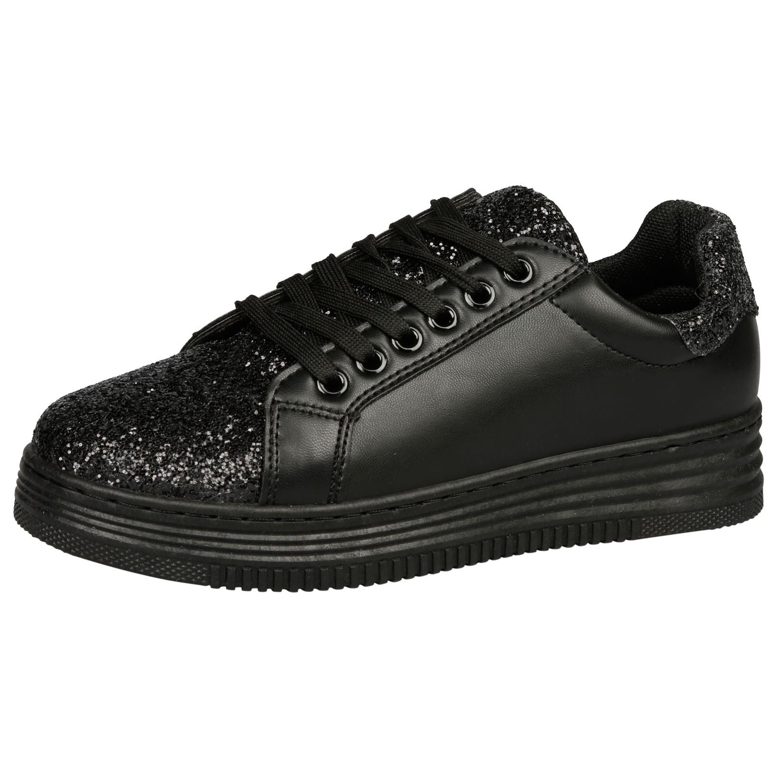 Alisha Glittery Lace Up Trainers in Black - Feet First Fashion
