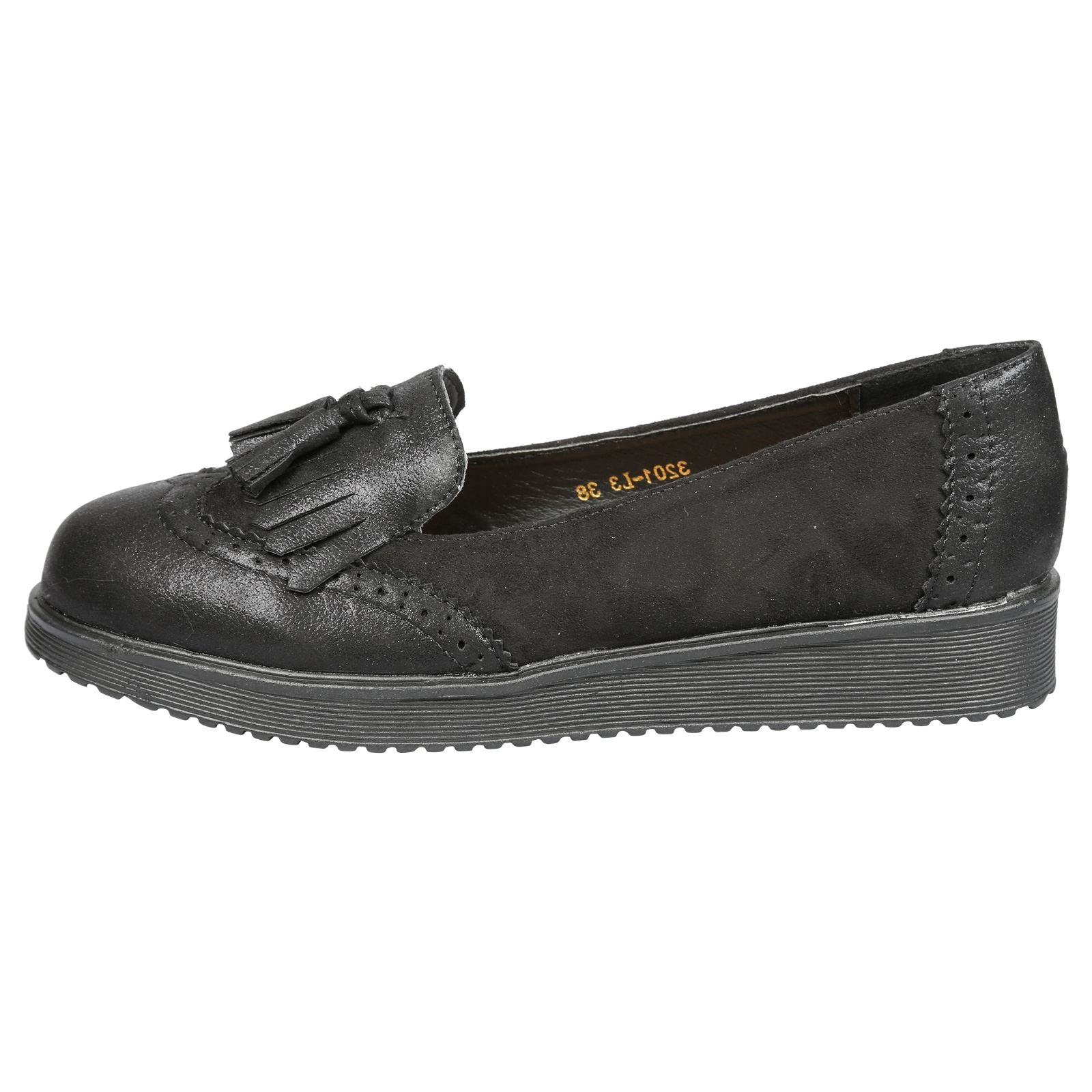 Leilani Two Tone Tassel Loafers in Black Faux Suede & Shimmer