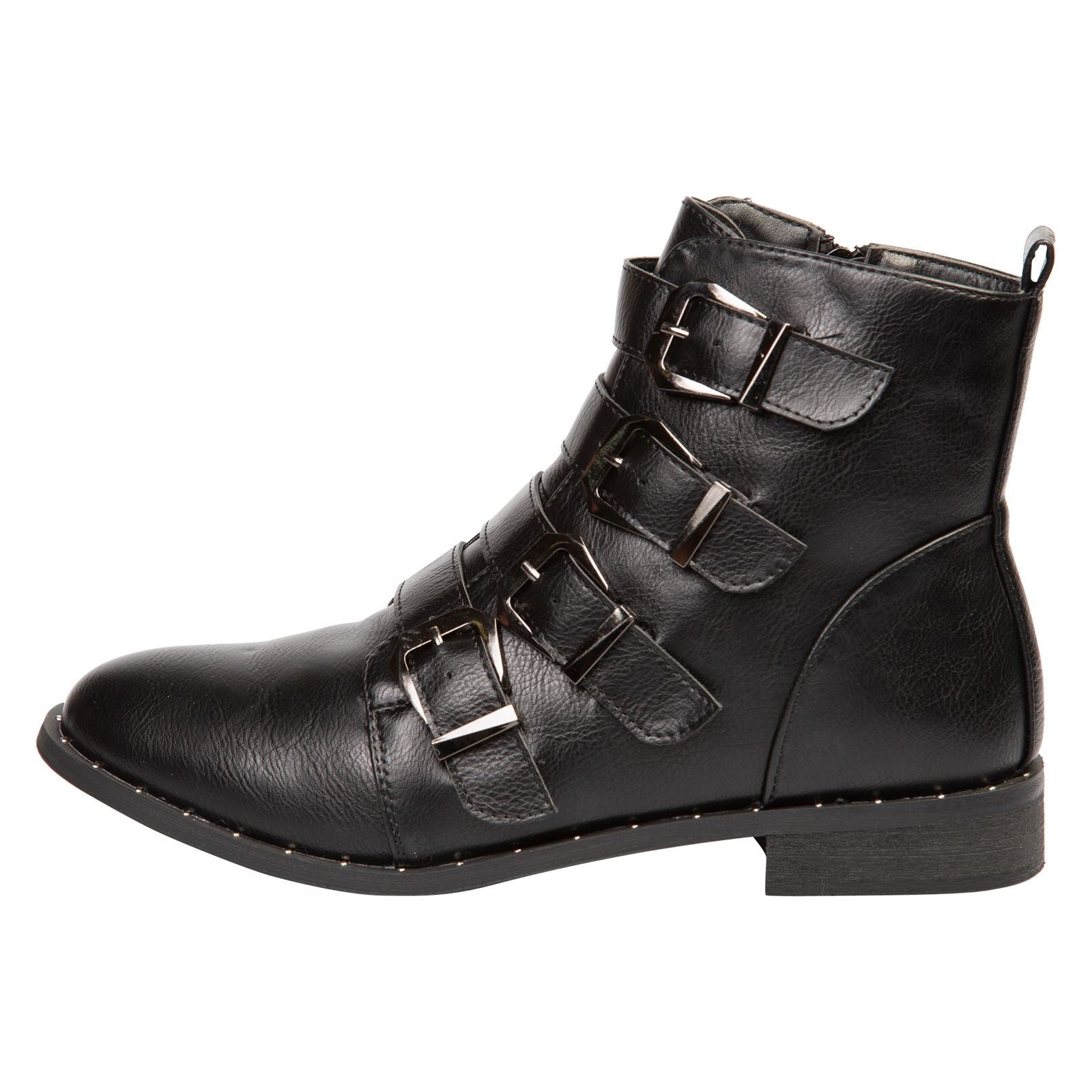 Harley Strappy Biker Boots in Black Faux Leather - Feet First Fashion