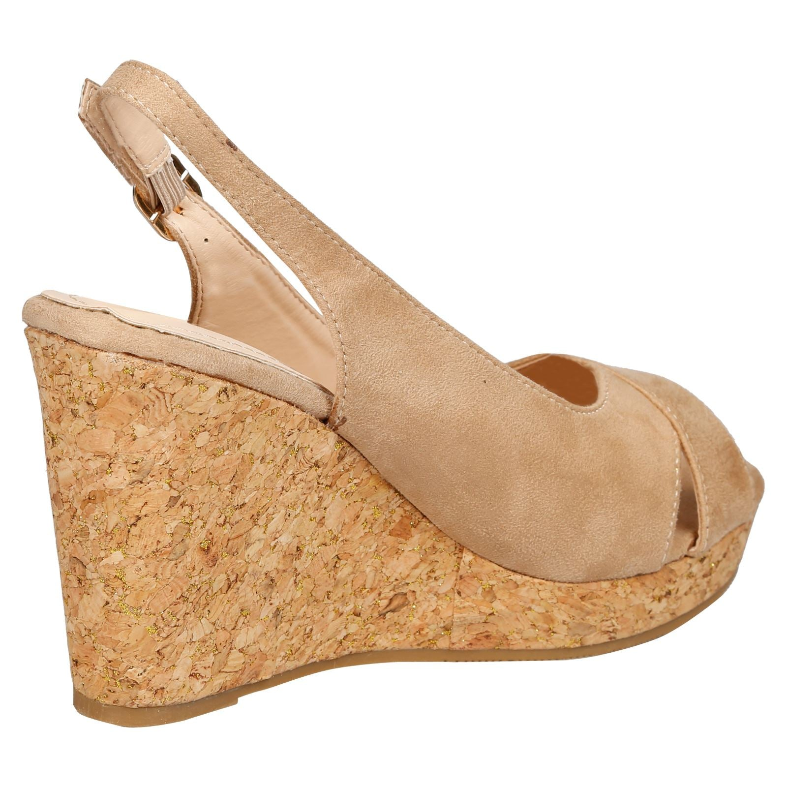 Dara Cork Sole Wedge Heel Slingback Sandals in Beige Faux Suede