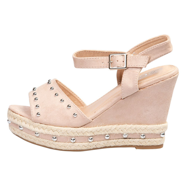 Bridie Studded Platform Sandals in Pink Faux Suede
