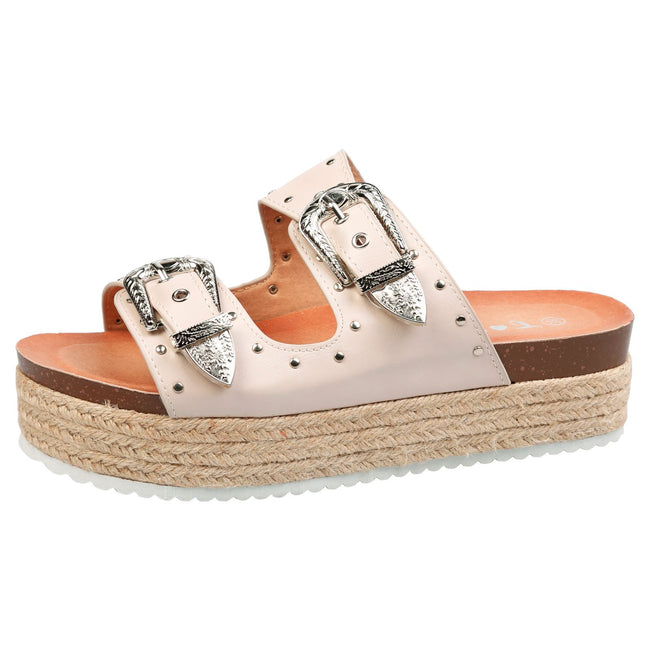 Gianna Buckle Detail Flatform Espadrille Sliders in Nude Faux Leather
