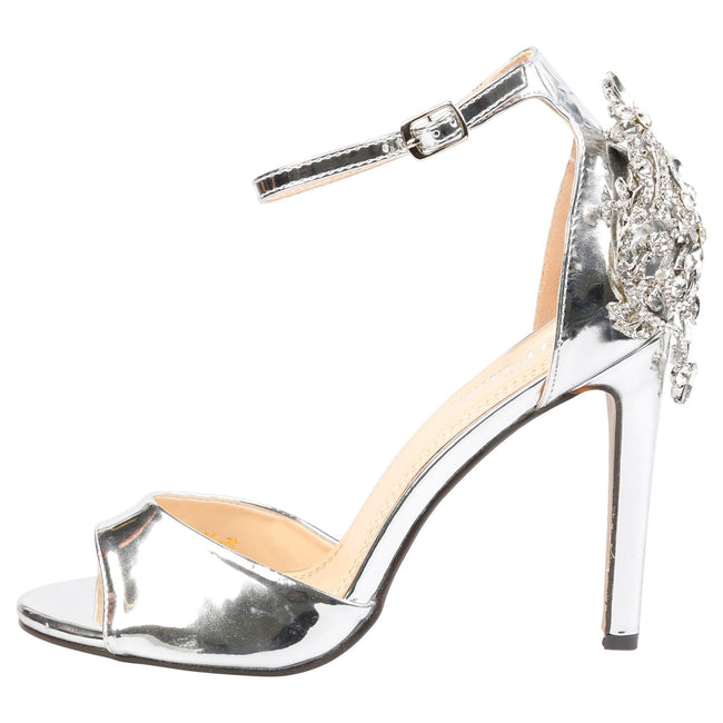 Sheila Diamante Embellished Sandals in Silver