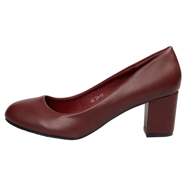 Mika Block Heel Court Shoes in Wine Red Faux Leather - Feet First Fashion