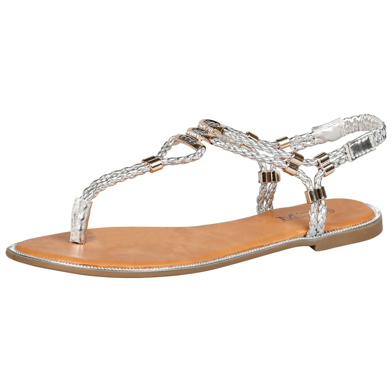 Rosielee Braided Sandals in Silver