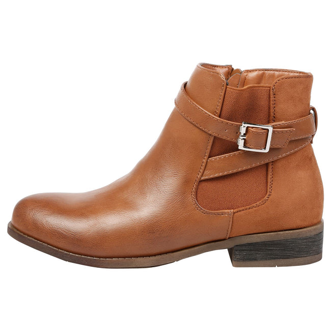 Monica Buckle Detail Ankle Boots in Camel - Feet First Fashion