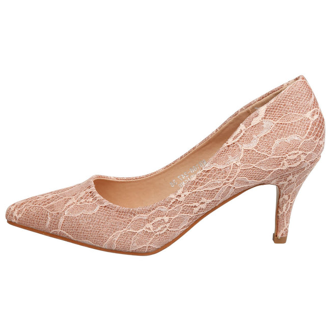 Katlyn Kitten Heel Court Shoes in Champagne Lace