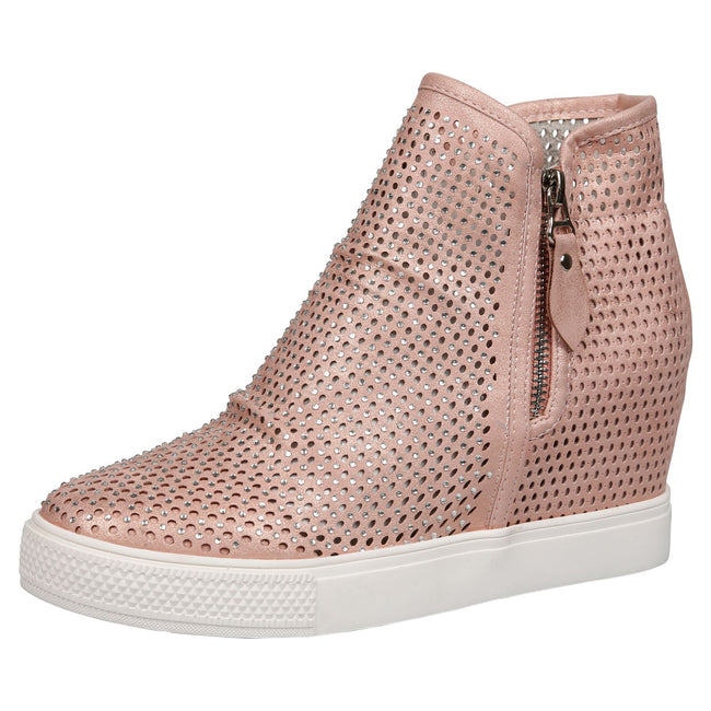 Theresa Concealed Wedge Diamante Trainers in Pink Faux Leather
