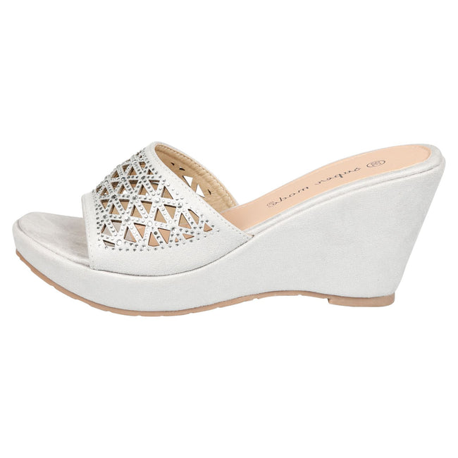 Elisha Wedge Heel Diamante Mules in Silver