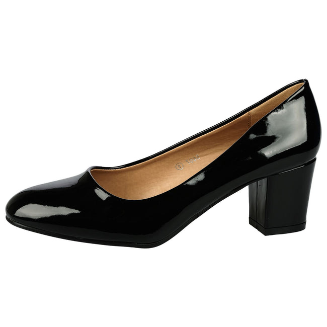 Yvonne Classic Block Heel Court Shoes in Black Patent