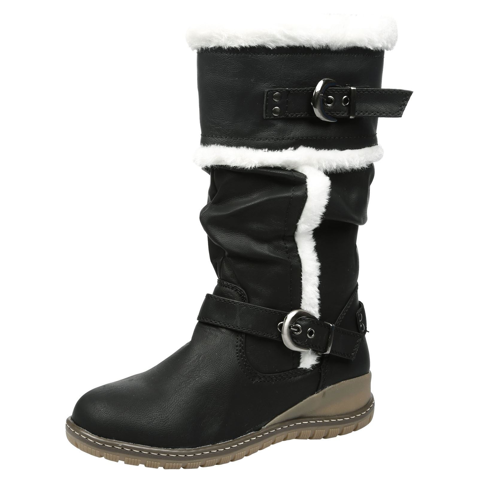 Shania Fur Lined Mid Calf Boots in Black Faux Leather