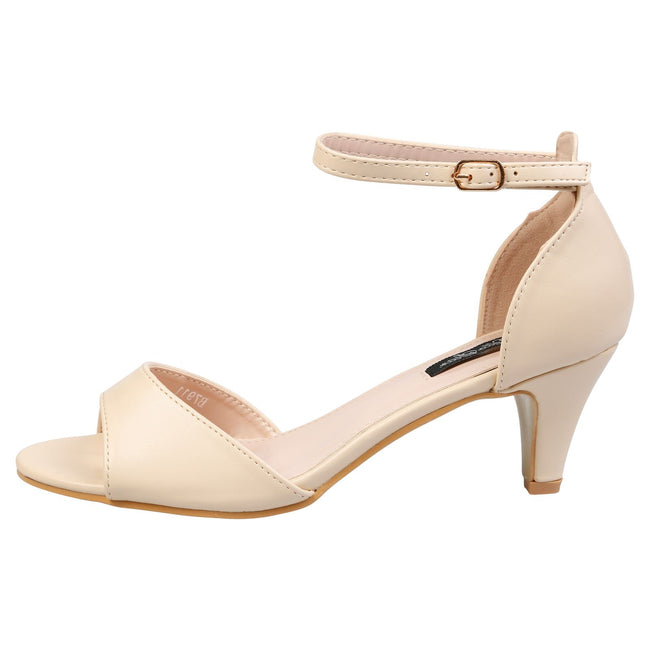 Laurie Low Heel Ankle Strap Sandals in Nude Faux Leather