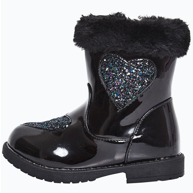 Brittany Girls Ankle Boots in Black Patent - Feet First Fashion