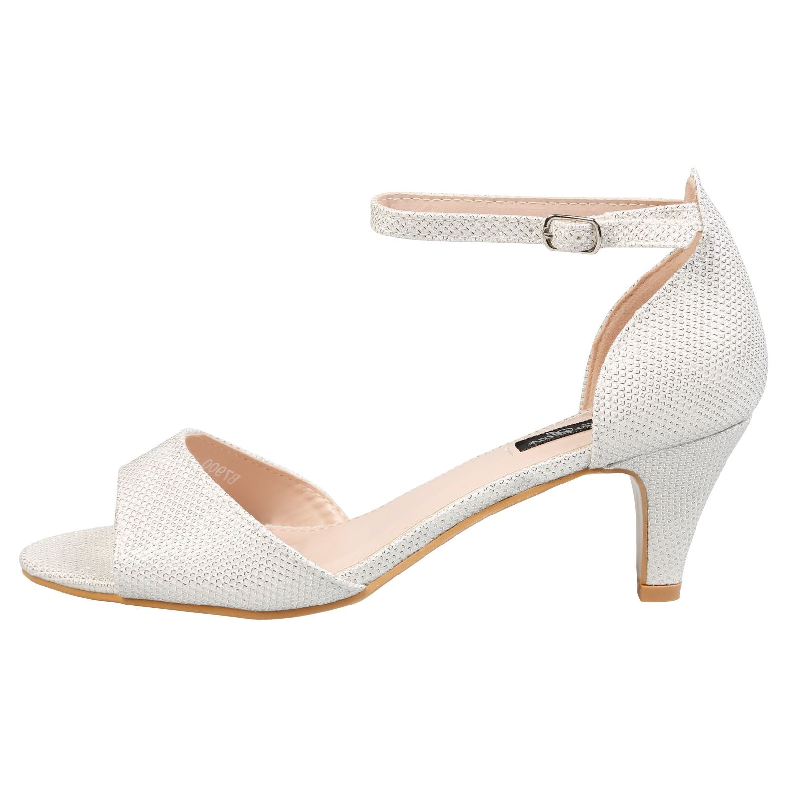 Laurie Low Heel Ankle Strap Sandals in White Shimmer