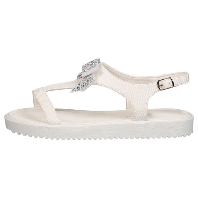 Shannon Girls Textured T-Bar Bow Sandals in White - Feet First Fashion
