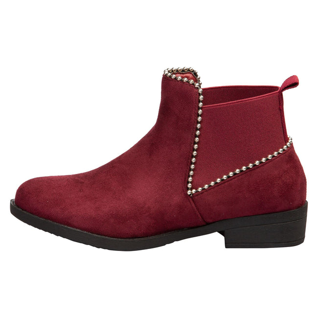 Presley Chelsea Boots in Wine Red Faux Suede - Feet First Fashion