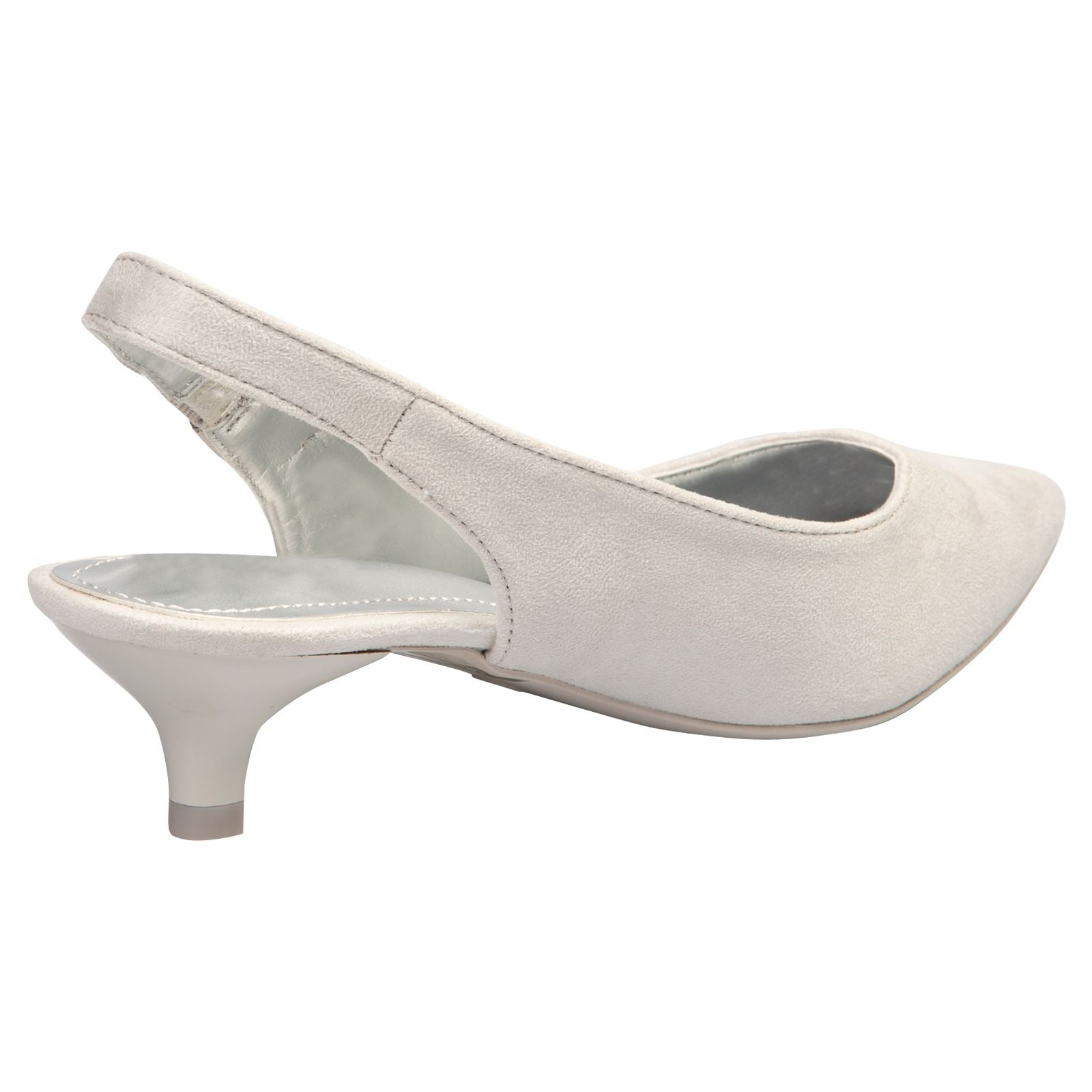 Alora Slingback Pumps in Grey Faux Suede - Feet First Fashion