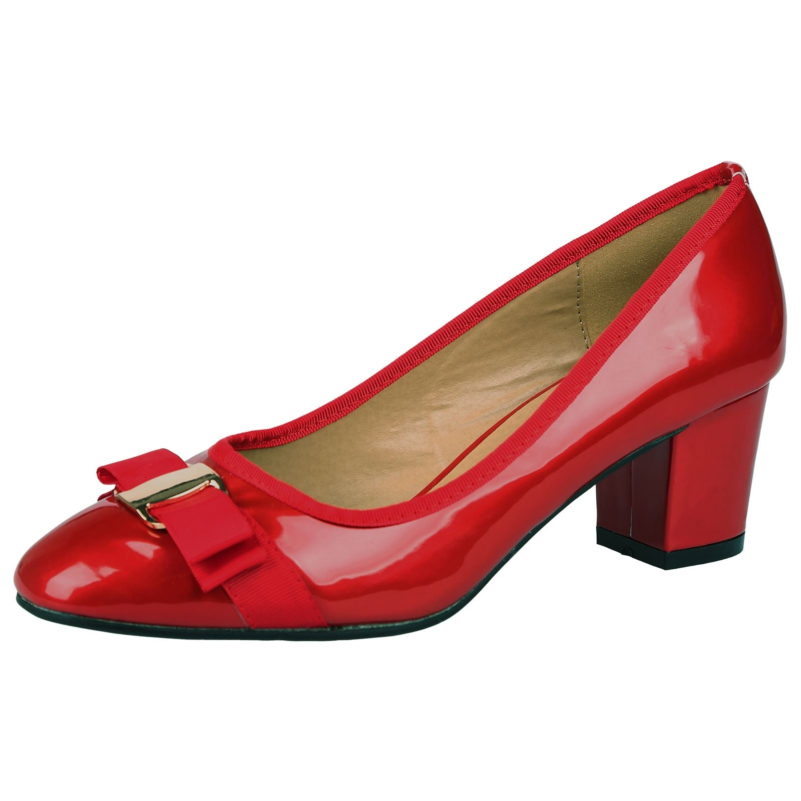 Cherie Bow Detail Low Heel Court Shoes in Red Patent