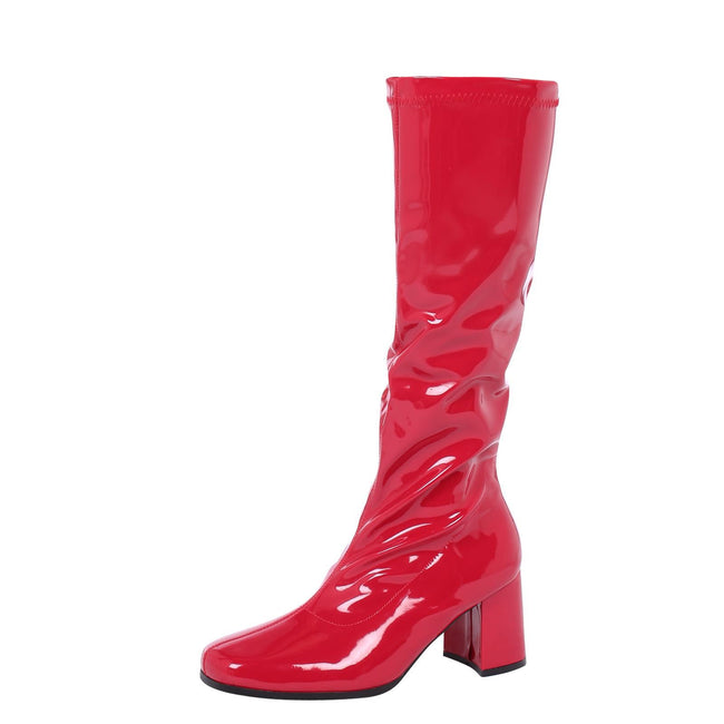 Krista Block Heel Knee High Boots in Red Patent