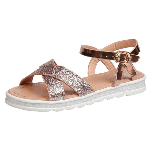 Nalani Girls T-Bar Sandals in Silver
