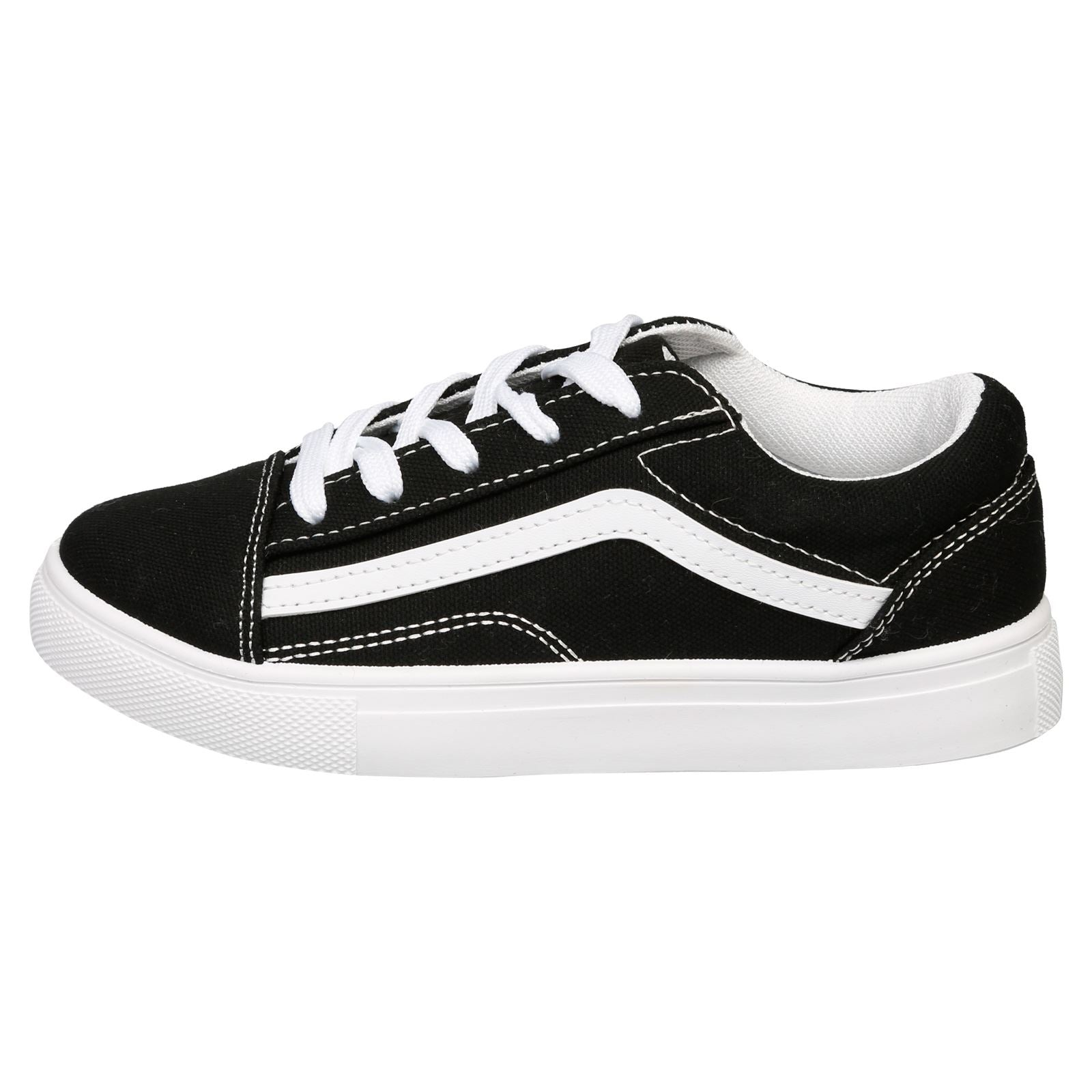 Hailee Girls Lace Up Trainers in Black / White - Feet First Fashion
