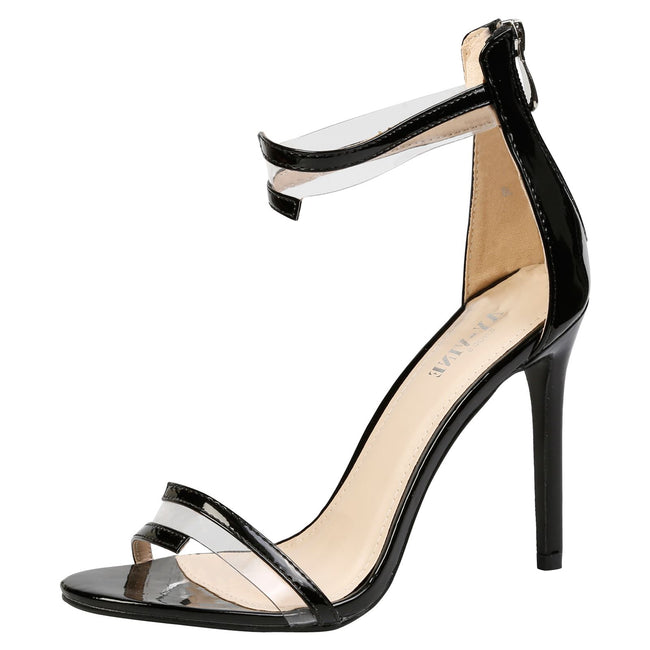 Stella Barely There Stiletto Sandals in Black Patent