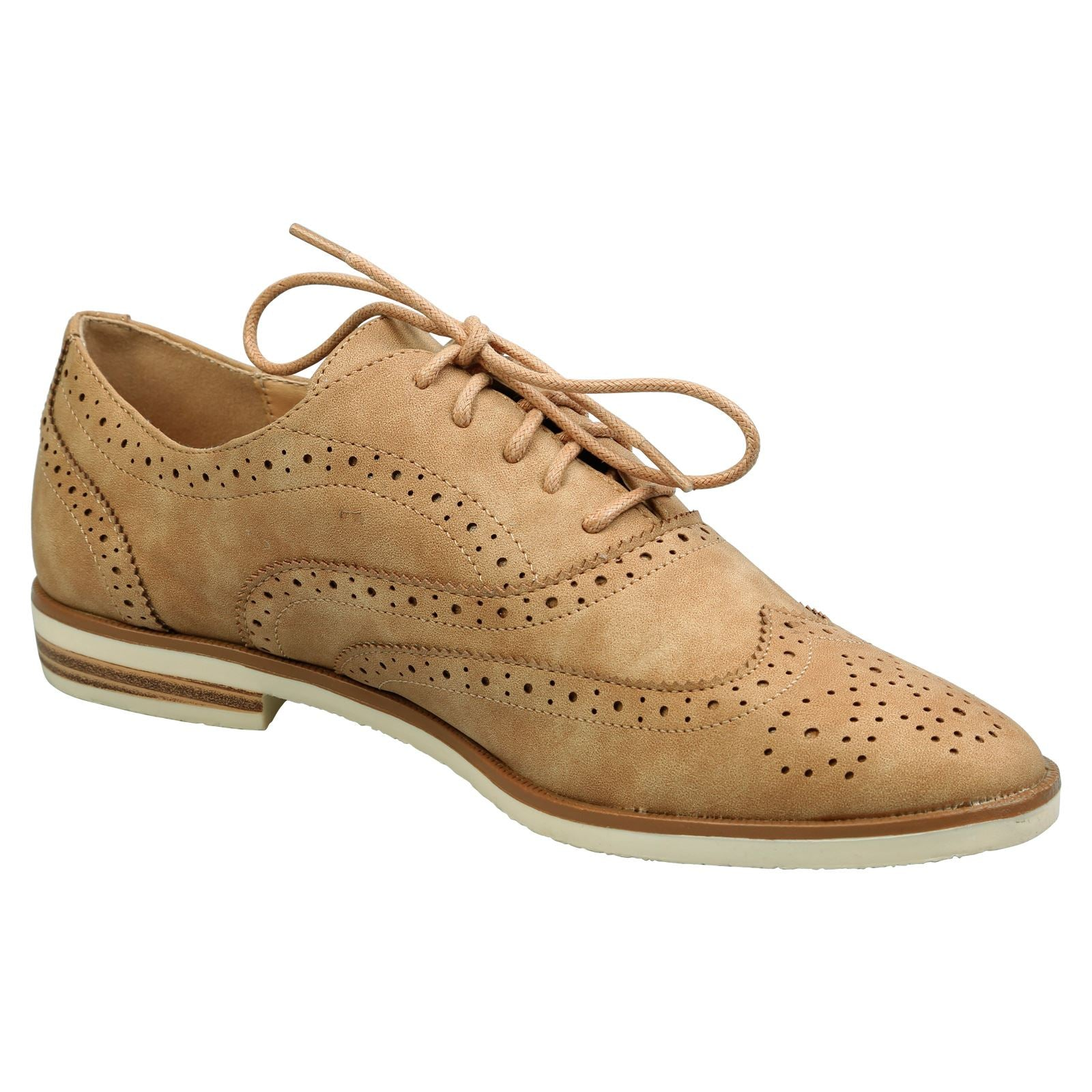 Prue White Sole Brogues in Tan Faux Suede