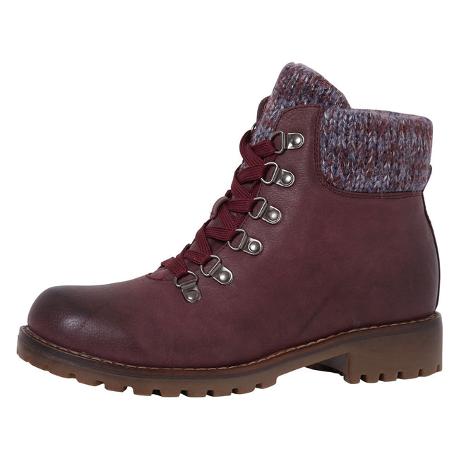 Zendaya Combat Ankle Boots in Burgundy Faux Leather