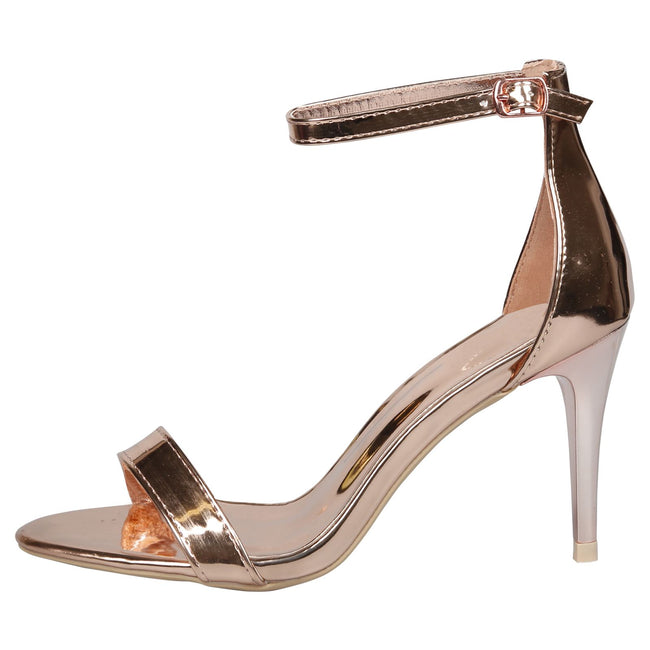 Ellen Stiletto Heel Ankle Strap Sandals in Rose Gold Patent