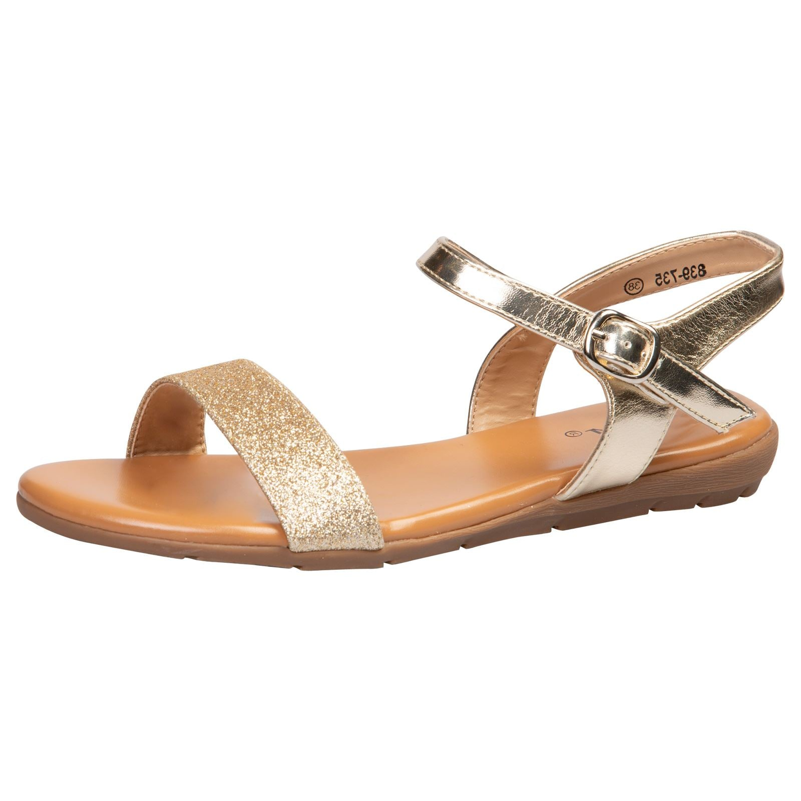 Lucy Flat Glitter Sandals in Gold - Feet First Fashion