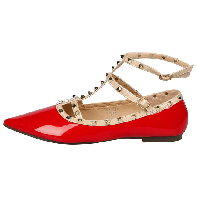 Michaela Studded Ankle Strap Flats in Red Patent