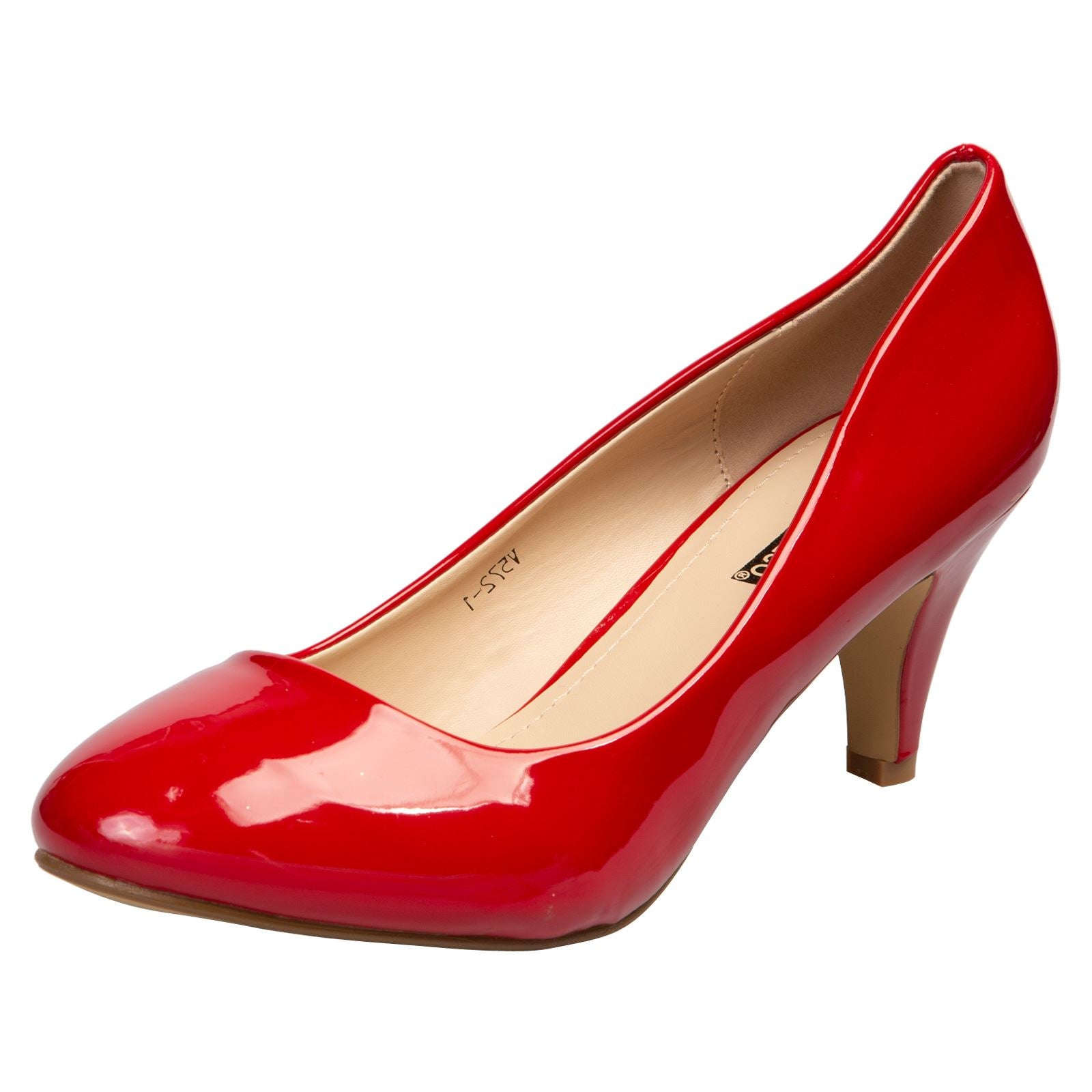 Karlee Low Mid Kitten Heels in Red Patent - Feet First Fashion