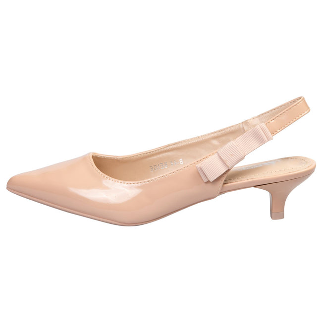 Alora Slingback Pumps in Beige Nude Patent - Feet First Fashion
