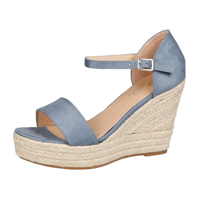 Gail Platform Wedge Ankle Strap Espadrille Sandals in Blue Faux Suede