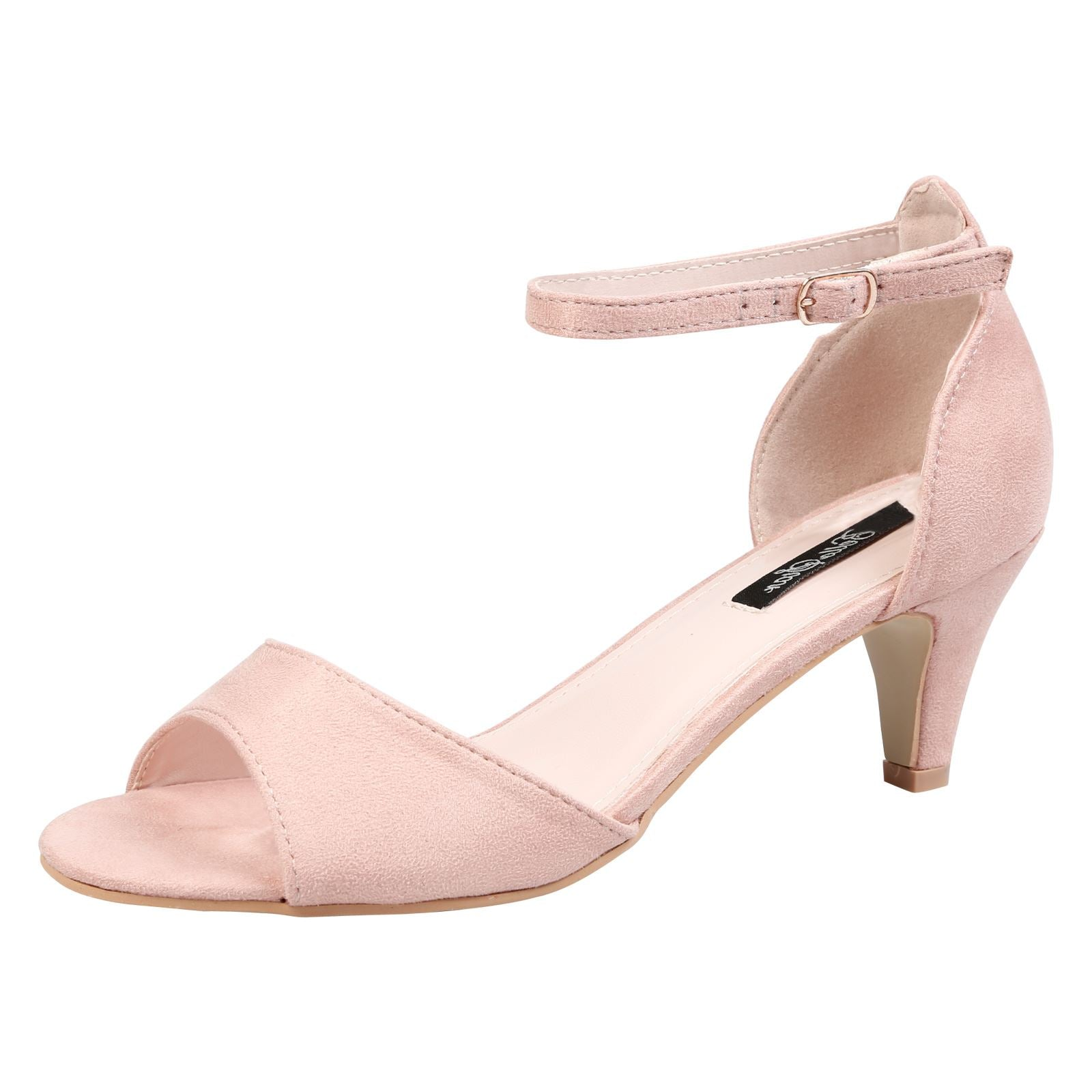 Laurie Low Heel Ankle Strap Sandals in Pink Faux Suede