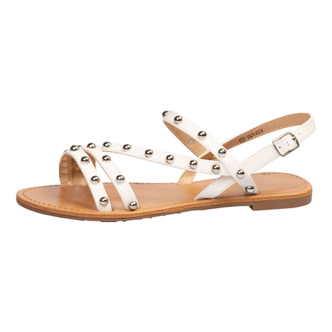 Celia Jewelled Flat Sandals in Black