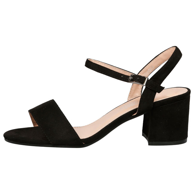 Aaliyah Low Block Heel Sandals in Black Faux Suede